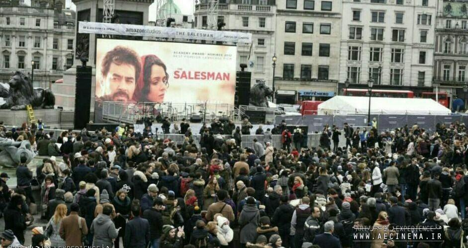 Thousands descend on Trafalgar Square for free screening of Oscar-nominated film The Salesman in Trump protest